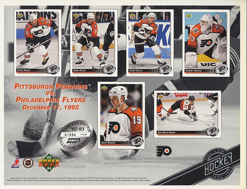 1992-93 Flyers UD Line-Up Sheet v. Pittsburgh