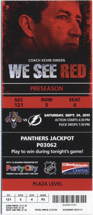 Florida Panthers Ticket Stub Sept 24, 2011